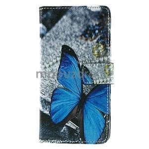 PU kožené peněženkové pouzdro na Lenovo S850 - modrý motýl - 2