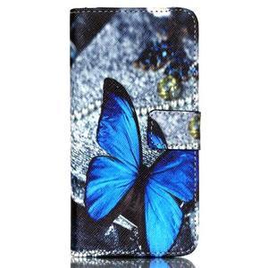 Style peněženkové pouzdro na mobil Lenovo S90 - modrý motýl - 2