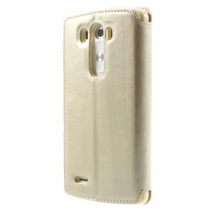Roar peněženkové pouzdro s okýnkem na LG G3 - zlaté - 2