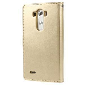 Luxusní PU kožené pouzdro na mobil LG G3 - zlaté - 2