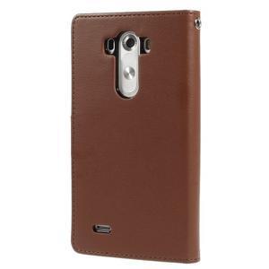 Luxusní PU kožené pouzdro na mobil LG G3 - hnědé - 2