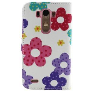 Obrázkové koženkové pouzdro na mobil LG G3 - malované květiny - 2