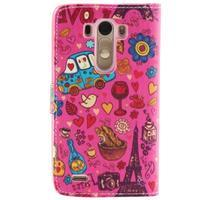 Obrázkové koženkové pouzdro na mobil LG G3 - symboly Paříže - 2/5