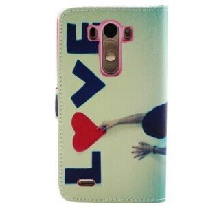 Obrázkové koženkové pouzdro na mobil LG G3 - love - 2