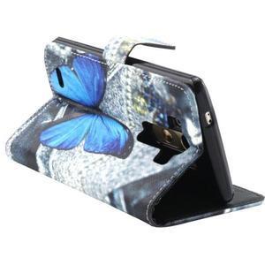 Obrázkové koženkové pouzdro na mobil LG G3 - modrý motýl - 2