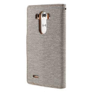 Canvas PU kožené/textilní pouzdro na LG G3 - šedé - 2