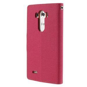 Canvas PU kožené/textilní pouzdro na LG G3 - rose - 2
