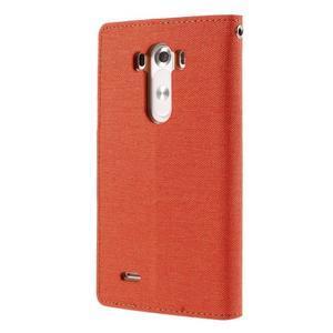 Canvas PU kožené/textilní pouzdro na LG G3 - oranžové - 2