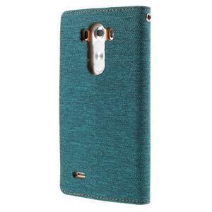 Canvas PU kožené/textilní pouzdro na LG G3 - zelené - 2