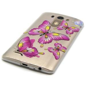Průhledný gelový obal na LG G3 - motýlci - 2