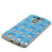 Průhledný gelový obal na LG G3 - modré sovičky - 2/6