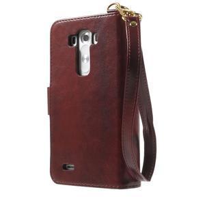 Patrové peněženkové pouzdro na mobil LG G3 - hnědé - 2