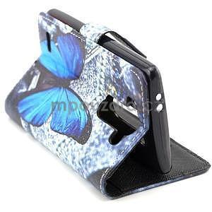 Obrázkové peněženkové pouzdro na LG G3 s - modrý motýl - 2