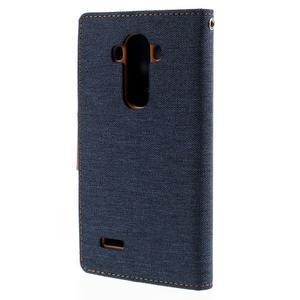 Canvas PU kožené/textilní pouzdro na mobil LG G4 - tmavěmodré - 2
