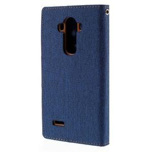 Canvas PU kožené/textilní pouzdro na mobil LG G4 - modré - 2