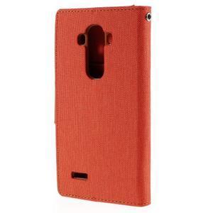 Canvas PU kožené/textilní pouzdro na mobil LG G4 - oranžové - 2