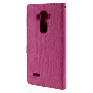 Canvas PU kožené/textilní pouzdro na mobil LG G4 - rose - 2