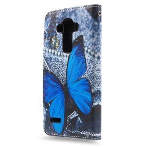 Call peněženkové pouzdro na LG G4 - modrý motýl - 2
