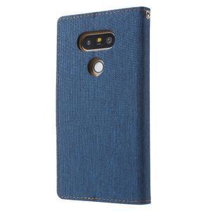 Canvas PU kožené/textilní pouzdro na LG G5 - modré - 2