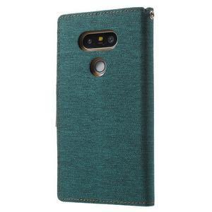 Canvas PU kožené/textilní pouzdro na LG G5 - zelené - 2