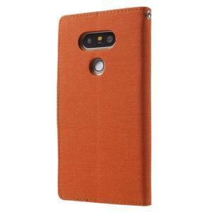 Canvas PU kožené/textilní pouzdro na LG G5 - oranžové - 2