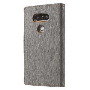 Canvas PU kožené/textilní pouzdro na LG G5 - šedé - 2