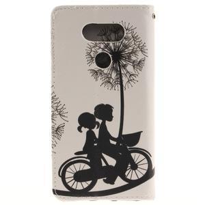 Obrázkové koženkové pouzdro na LG G5 - láska na kole - 2