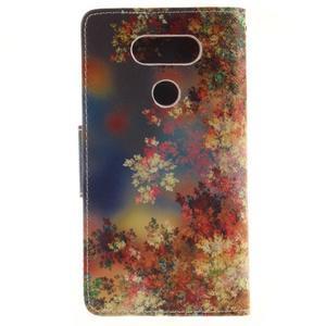 Obrázkové koženkové pouzdro na LG G5 - malované listí - 2