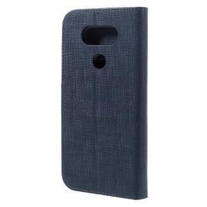 Cloth koženkové peněženkové pouzdro na LG G5 - tmavěmodré - 2