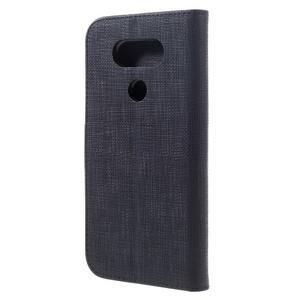 Cloth koženkové peněženkové pouzdro na LG G5 - černé - 2