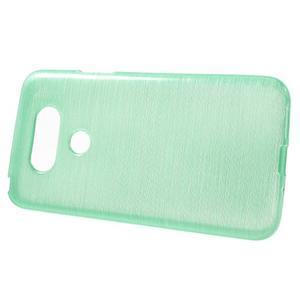Hladký gelový obal s broušeným vzorem na LG G5 - cyan - 2