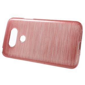 Hladký gelový obal s broušeným vzorem na LG G5 - růžový - 2