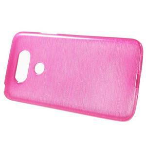 Hladký gelový obal s broušeným vzorem na LG G5 - rose - 2