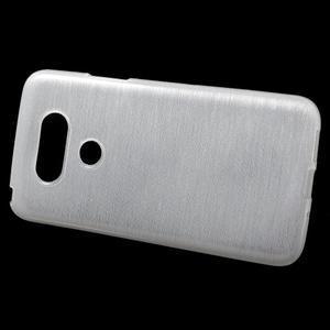 Hladký gelový obal s broušeným vzorem na LG G5 - bílý - 2