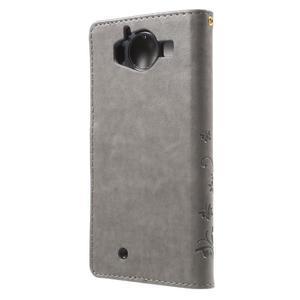 Buttefly PU kožené pouzdro na Microsoft Lumia 950 - šedé - 2
