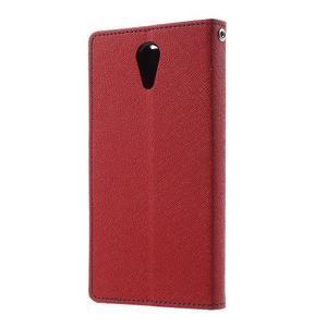 Diary PU kožené pouzdro na mobil HTC Desire 620 - červené - 2