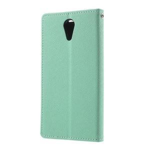 Diary PU kožené pouzdro na mobil HTC Desire 620 - cyan - 2