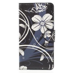 Zapínací peněženkové pouzdro Huawei Y635 -  bílá květina - 2
