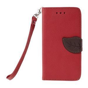 PU kožené pouzdro se zapínáním na Nokia Lumia 730/735 - červené - 2