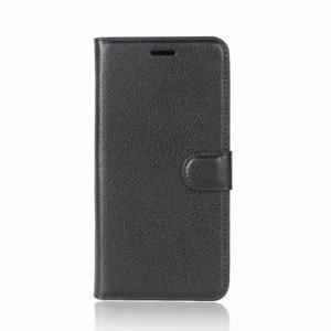 Litchi PU kožené pouzdro na Nokia 6.1 - černé - 2