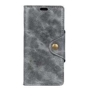 Retro PU kožené pouzdro na Nokia 6.1 - šedé - 2