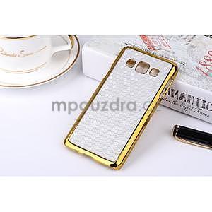 Elegantní obal na Samsung Galaxy A3 - stříbrný se zlatým lemem - 2