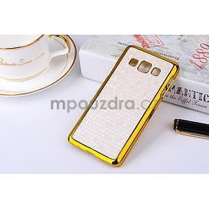 Elegantní obal na Samsung Galaxy A3 - bílý se zlatým lemem - 2