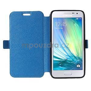Klopové PU kožené pouzdro na Samsung Galaxy A3 - modré - 2