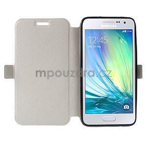 Klopové PU kožené pouzdro na Samsung Galaxy A3 - bílé - 2