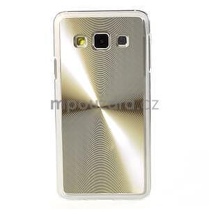 Metalický plastový obal na Samsung Galaxy A3 - zlatý - 2