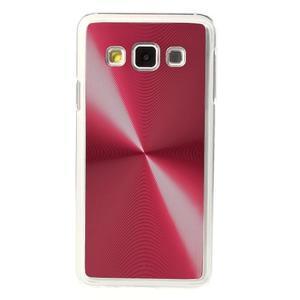 Metalický plastový obal na Samsung Galaxy A3 - červený - 2