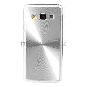 Metalický plastový obal na Samsung Galaxy A3 - stříbrný - 2