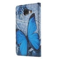 Koženkové pouzdro na Samsung Galaxy A5 (2016) - modrý motýl - 2/6