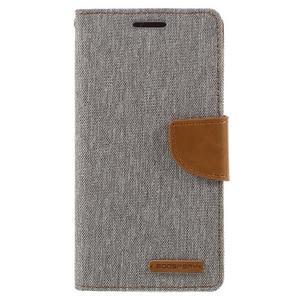 Canvas PU kožené/textilní pouzdro na Samsung Galaxy A5 (2016) - šedé - 2